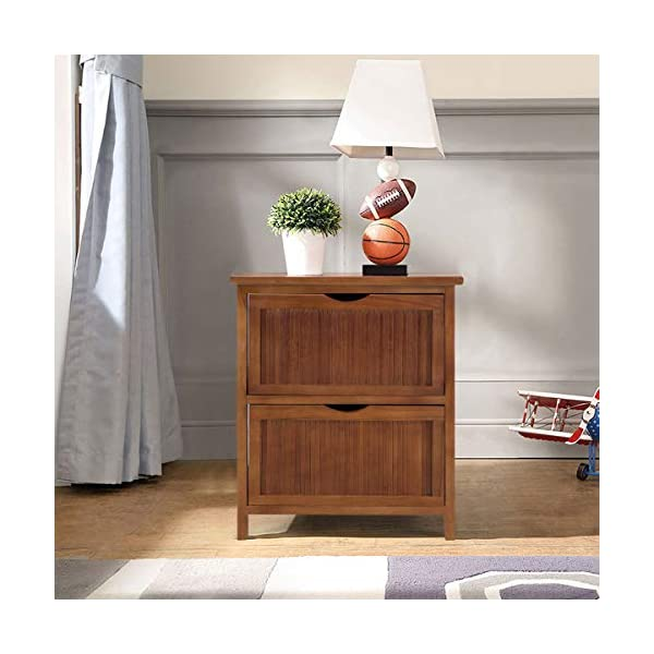 Giantex Nightstand Wood W/2 Drawers Sofa Bed Beside Table Contemporary Vintage for Bedroom Living Room Cabinet End Table…