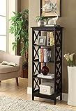 5-tier Black Wood Bookshelf Bookcase Display Media Cabinet