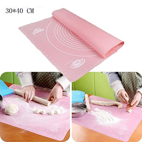 Silicone Dough Kneading Mat With Scale Pink - 8
