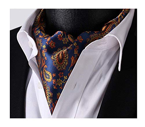 (Elfeves Men's Blue Orange Floral 100% Silk Cravat Ties Jacquard Woven Ascot)