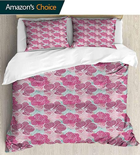 (Floral Duvet Cover Set Twin Boys,Box Stitched,Soft,Breathable,Hypoallergenic,Fade Resistant 100% Cotton Bedspread/ Quilt Set, 3 Pieces(79