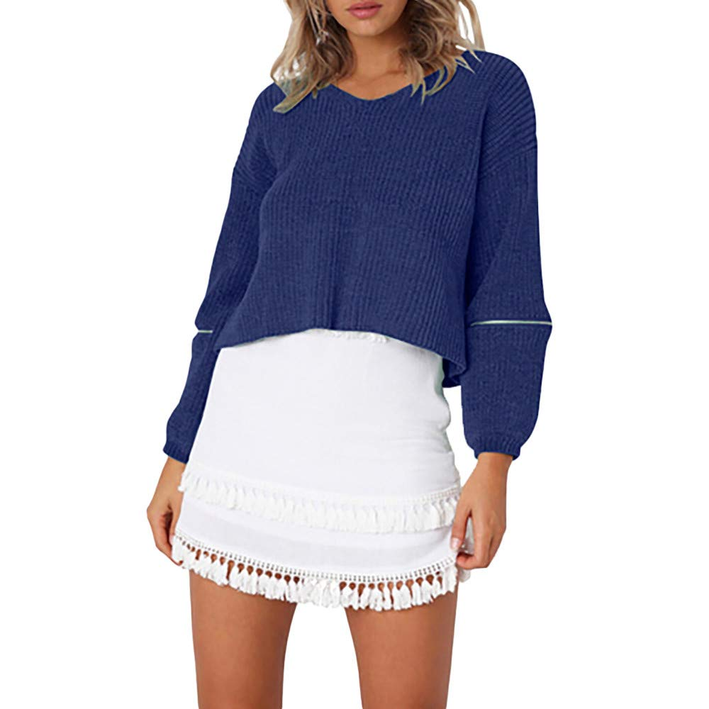 Ratoop Womens AutumnWinter Knitted Blouse,Casual V Neck Pullover Tunic Shirts Solid Zipper Long Sleeve Patchwork Sweater (Blue, L)