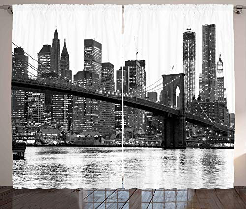 Ambesonne Modern Curtains, Brooklyn Bridge Sunset with Manhattan American New York City Famous Town Image, Living Room Bedroom Window Drapes 2 Panel Set, 108 W X 108 L inches, Black ()