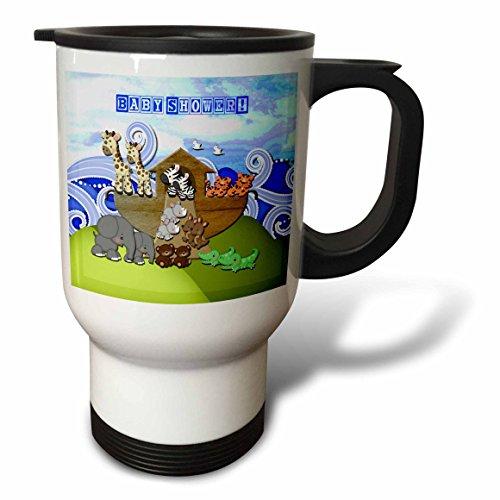 - 3dRose Beverly Turner Noahs Ark Design - Animals on Ark, Baby Shower, Block Font - 14oz Stainless Steel Travel Mug (tm_195847_1)
