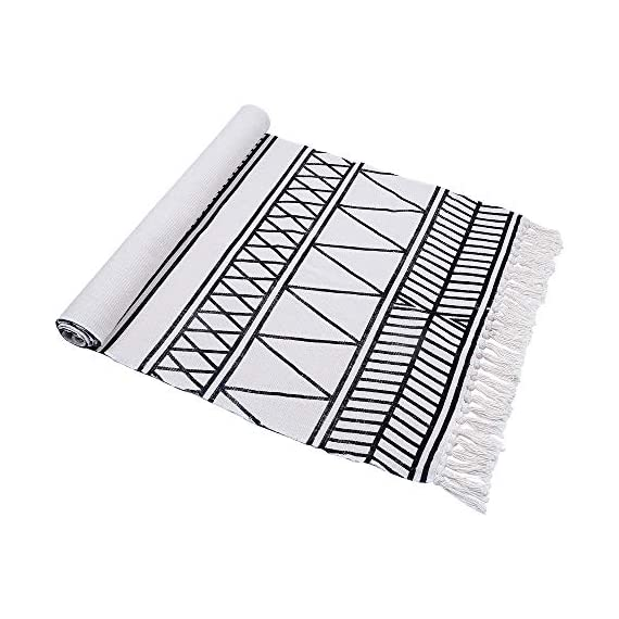 HEBE Cotton Rug Runner 2.3'x6' Washable Woven Tassel Black and White Rugs Cotton Throw Rugs Floor Carpet Mat Bohemian Rug for Living Room Kitchen Laundry - Area Rug Runner Size: Package includes 1 PCS cotton woven tassels runner rug. Cotton runner rug measure size at 2.3 x 6 ft/70*180cm.The size is perfectly suitable for kitchen floor,laundry room,living room,entrance way,doormat or any room you like. Accent Cotton Rug: Woven cotton throw rugs runner well made by Natural Cotton.Cotton material makes excellent water absorption.It's safe for the environment, give soft and breathable touch when people walk on them. Printed Bohemian Cotton Rug Runner: Cotton throw rug designed with geometric patterns and extra snazzy knotted tassels on each side which make them seem chic.Cotton area rug color is black and white that will make it never go out of style and long time stay on the floor. - runner-rugs, entryway-furniture-decor, entryway-laundry-room - 51tciIWkkmL. SS570  -