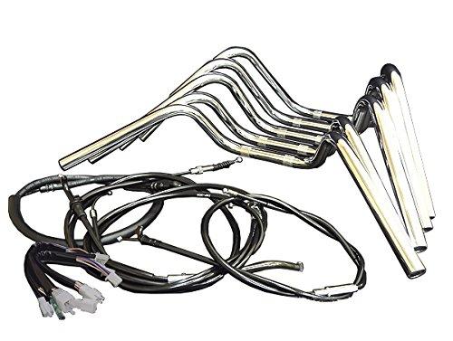 HK アップハン しぼりハンドルセット ブラックワイヤー+ブラックブレーキホース+グリップ付 35cm高 [メッキ:KAWASAKIカワサキ ZRX400 ZRX400-II (04-08年)用] B00WE1DUSC BKワイヤー/ラバーブレーキ 35cmメッキ:アップしぼり