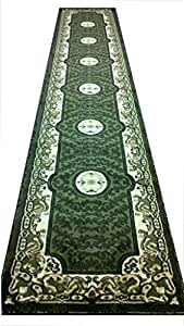 Traditional Long Rug Runner 32 In. X 15 Ft. 10 In. Green Design # 101