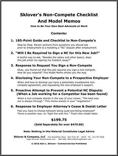 Amazon Com Sklover S Non Compete Checklist And Model Memos How To