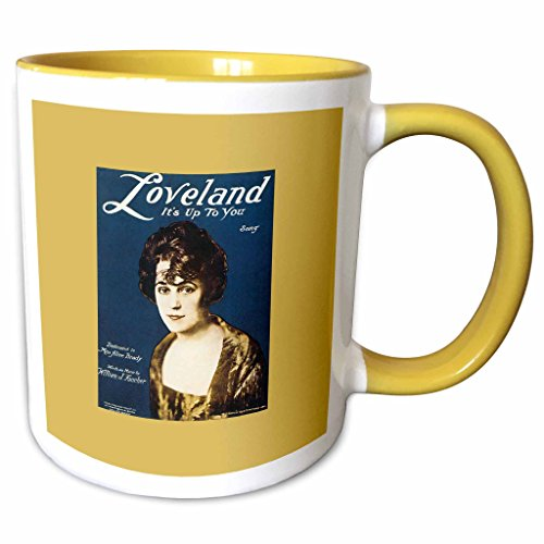 3dRose BLN Vintage Song Sheet Covers Reproductions - Loveland Its up To You Song with Portrait of a Woman - 11oz Two-Tone Yellow Mug - Loveland Outlets Of