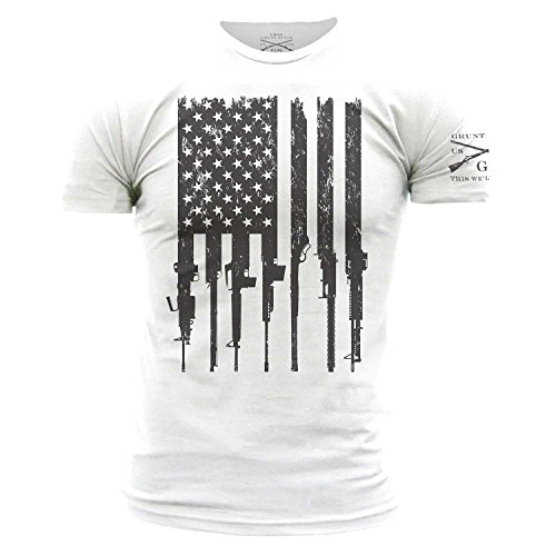 (Grunt Style Rifle Flag Men's T-Shirt, Color White, Size L)