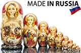 Russian Nesting Doll - ''Russian Beauty'' - TROYKA - Hand Painted in Russia -15 color/size variations - Wooden Decoration Gift Doll - Traditional Matryoshka Babushka (12``(10 dolls in 1), Style C)