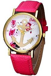 Kingfansion Vogue Women's Leather Floral Printed Anchor Quartz Dress Wrist Watch