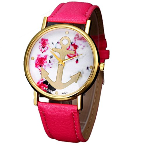 Kingfansion Vogue Womens Leather Floral Printed Anchor Quartz Dress Wrist Watch