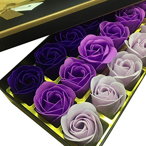Simulated Rose - Artificial Flowers 18pcs Box Simulation Rose Soap With Ribbon Wedding Decoration Souvenir Valentines - Vintage Lings Poppies Dollars Headstones Blue Burgundy Dusty Black ()