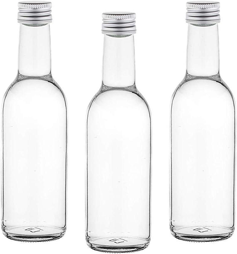 casa-vetro 12, 30, 42 Botellas de 250 ML, de Zumo de Vino pequeñas para Rellenar, 0,25 litros, de Licor, vinagre, Aceite, Vidrio, Blanco, 12 Stück