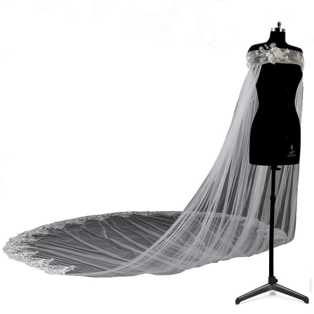 Women's Elegant Tulle Wedding Cape Lace Appliques 3M/4M Bridal Cloak Wedding Jacket Cosplay Cloak