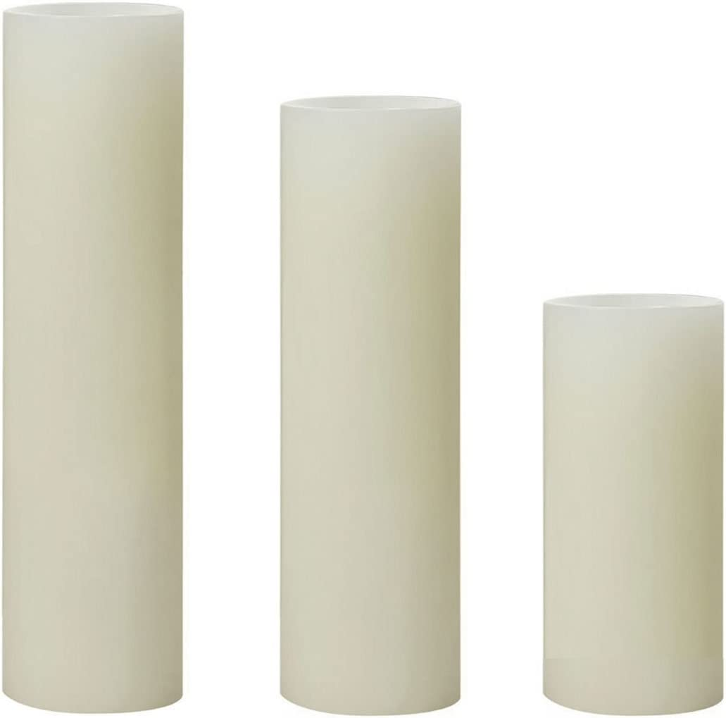 Sterno Home, Cream, Impressions 4, 6, and 8-Inch Slim Pillars, Smooth Flameless Candles, Unscented, 3-Pack