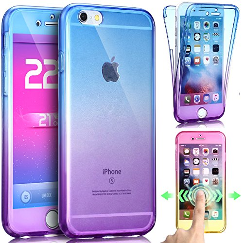 Price comparison product image iPhone 8 Case,iPhone 7 Case,ikasus [Full-Body 360 Coverage] Gradient Color Ultra-Slim Scratch-Resistant Front Back Full Coverage Soft Clear TPU Silicone Rubber Case Cover for iPhone 8 / 7,Blue Purple