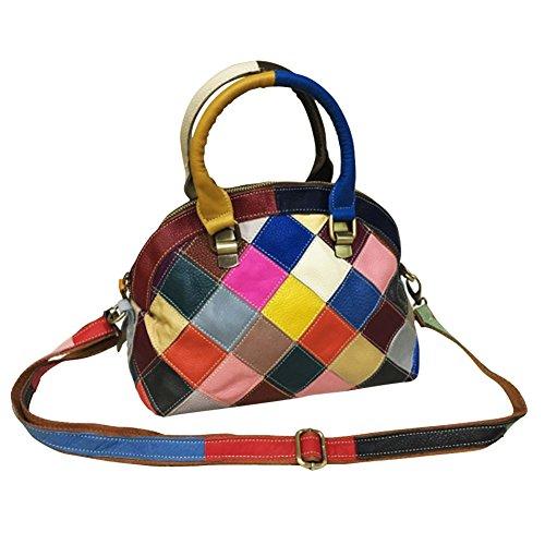Tote Yjiujiu Women's Bag Leather Colorblock Shoulder Crossbody Plaid EEpqAf8nr
