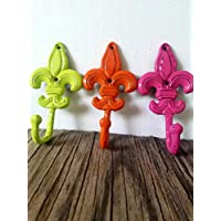 Lime Green, Bright Orange and Hot Pink Fleur De Lis Hooks - Set of 3 - Cast Iron - Heavy Duty - Matching Screws Included