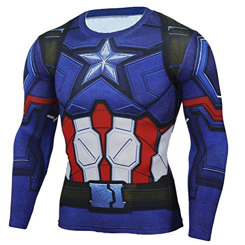 Mens Compression Shirt,Captain America Long Sleeve Fashion Runing Sport Tee M ()