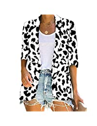 TOTOD Women Lapel Open Front Pockets Cardigan Jackets Blazer Casual Leopard Zebra Maple Print Long Sleeve Thin Coat