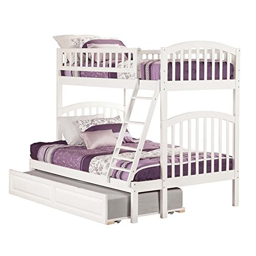 - Atlantic Furniture AB64232 Richland Bunk Bed with Twin Size Raised Panel Trundle, Twin/Full, White