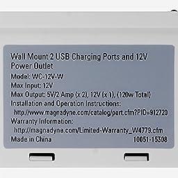 RV WALL MOUNT 12V-VPA SOCKET/5V4A OUPUT DUAL USB PORT CHARGING STATION, WHITE