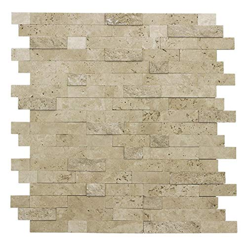 - MTO0217 Peel and Stick Classic Linear Beige Glazed Stone Mosaic Tile