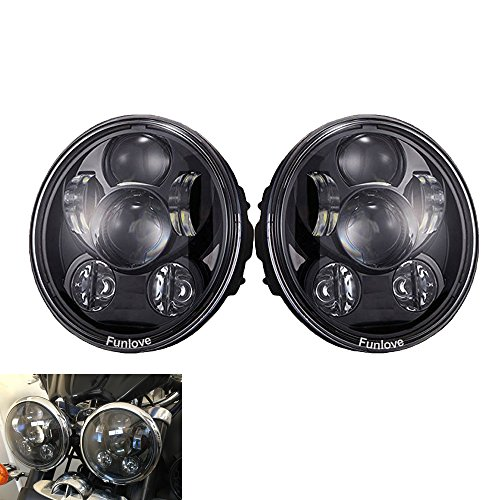 Funlove 5-3/4 5.75 Inch 45W Round Projector LED Headlight DOT for Harley Davidson 883 SportsterTriple Motorcycles(2 Pcs)