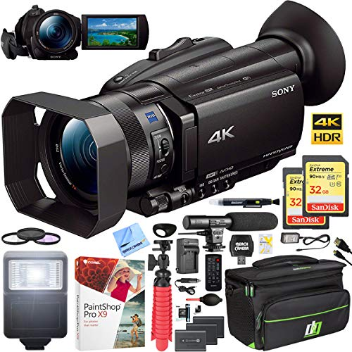 (Sony FDR-AX700 4K HDR Handycam Camcorder with 2X Spare Battery Video Camera Case 2X 32GB Memory Card Shotgun Microphone Deluxe Bundle)