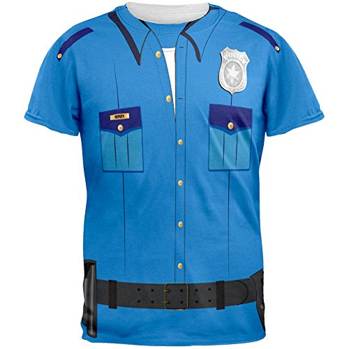Halloween Patrol Blue Police Officer Costume All Over Adult T-Shirt - Medium (Girls Blue Police Officer Costume)