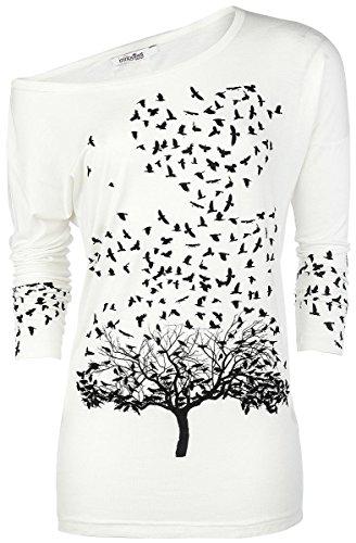 Innocent Crow Heart Manga larga Mujer Blanco Blanco