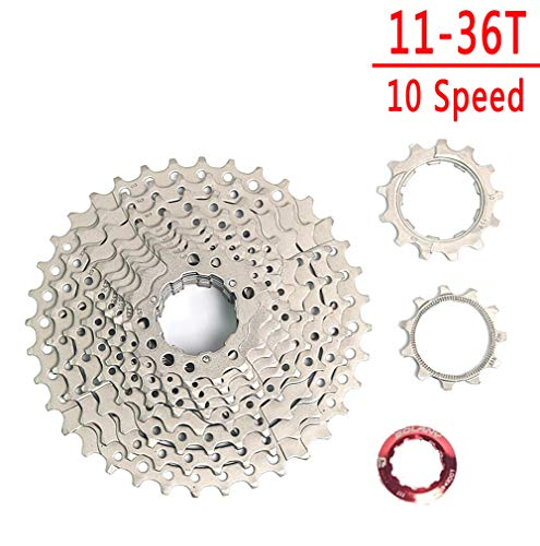 BOLANY 8-9-10-11-12 Speed Cassette 11-32T 11-36T 11-40T 11-42T 11-46T 11-50T 11-52T Wide Ratio MTB Bicycle Part Freewheel Sprocket with Rear Derailleur Extension (10 Speed 36T Silver)