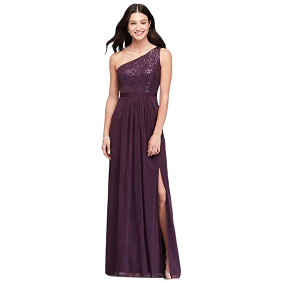 77314d447c2 David s Bridal One-Shoulder Sequin and Mesh Bridesmaid Dress Style  AP2E202811 at Amazon Women s Clothing store