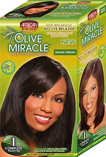 (African Pride Olive Miracle Deep Conditioning No-lye Relaxer Kit, Regular )