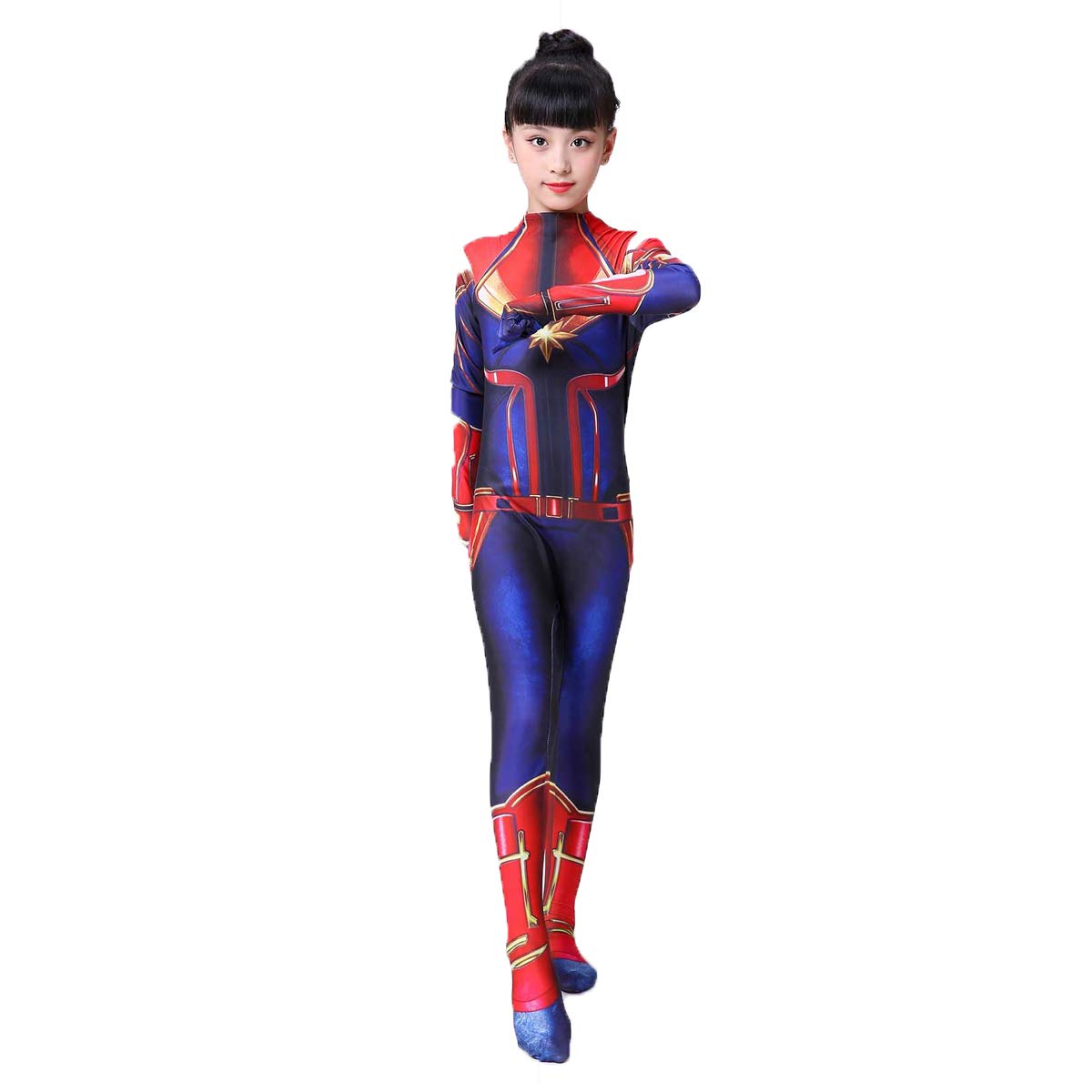 Ms Captain Marvel Superhero Costume Spandex Zentai Halloween Cosplay Leotard US