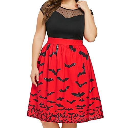 Diy Fringe Flapper Dress (Tsmile Women Plus Size Dress Vintage Stretchy Sleeveless Halloween Bat Print High Waist Party Skater Swing Dresses)