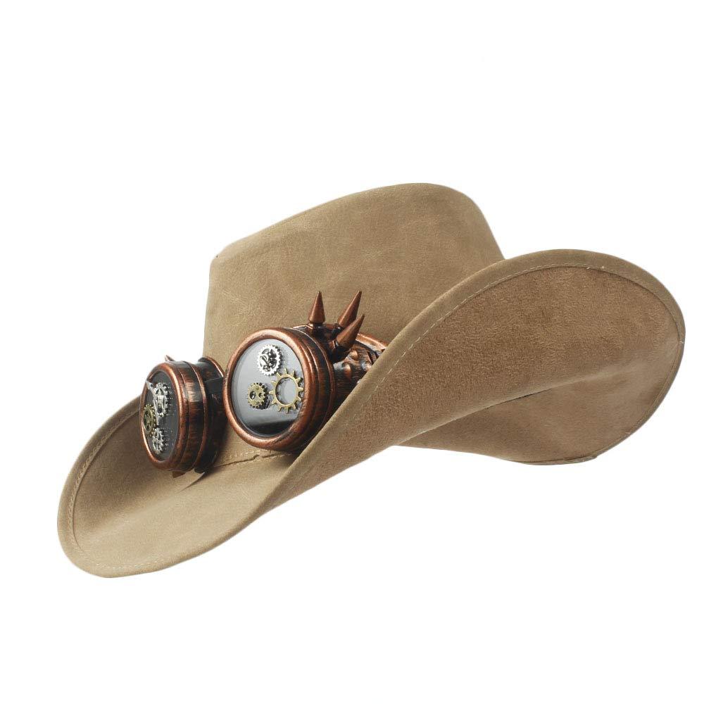 LFLING Western Cowboy Hat 2018 Western Cowboy Hat Faux Leather Bowler Metal Decoration Wide Brim Men Women Black Cap