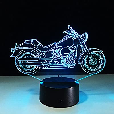Circle Circle New Motorcycle Motorbike 3D Optical Illusion Table Lamp 7 Colors Change Touch Button and 15 Keys Remote Control LED Light Decor by Circle Circle