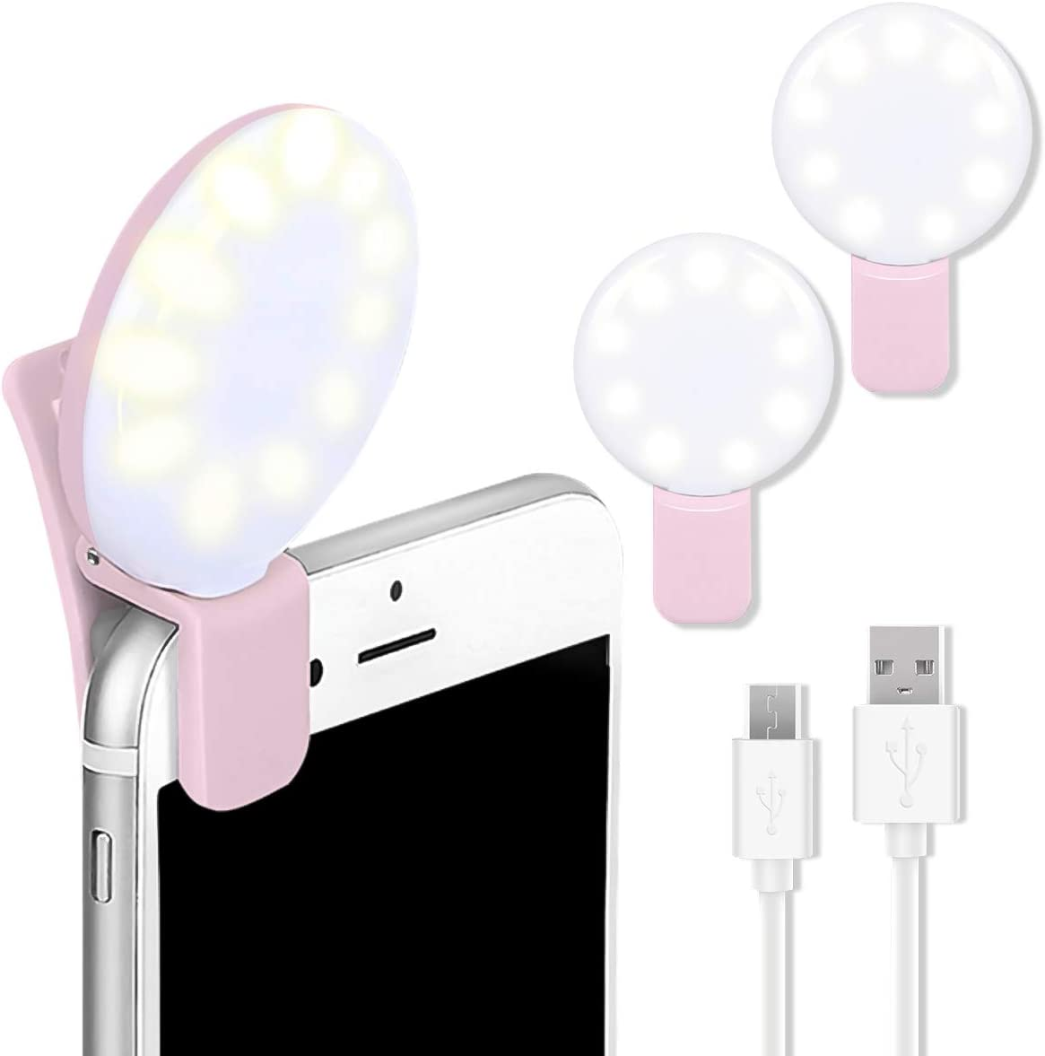 CameCosy 2PCS Small Selfie Ring Light for Laptop,Rechargeable Portable Clip on Phone,Adjustable Brightness for Video conferencing/Live Stream/YouTube, Compatible with iPhone/Android.(Pink+Pink)
