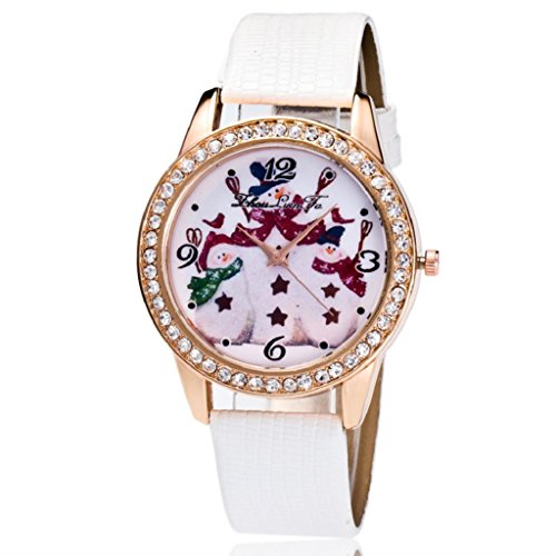 Hosamtel Christmas Snowman Leather Band Rhinestone Analog Quartz Lady Wristwatch - Www.boots-uk.com