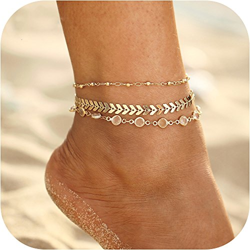Meangel Anklets for Women Girls Ankle Chains Bracelets Adjustable Beach Anklet Foot Jewelry -