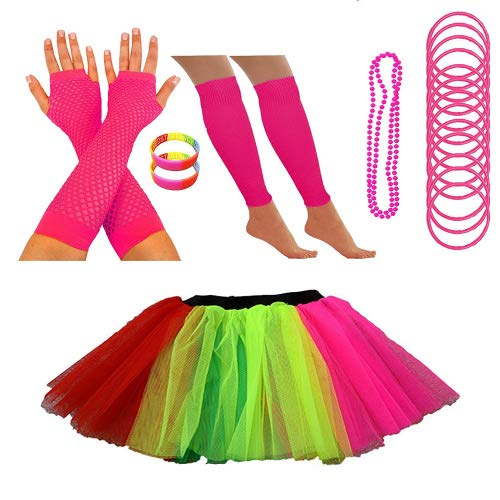REDSTAR Neon Tutu Skirt Leg Warmers Fishnet Gloves Necklace Beads Gummy Bracelets and Neon Wrist Bands (4-8 US, Rainbow) ()