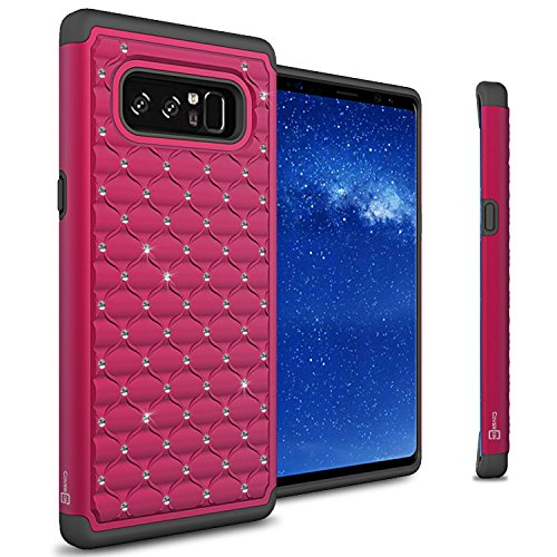 CoverON Aurora Series for Galaxy Note 8 Case, Protective Hybrid Phone Cover with Rhinestone Diamond Accents - Pretty Pink