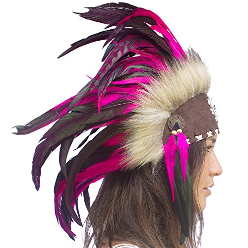 India Costume For Male (Unique Feather Headdress- Native American Indian Inspired- Handmade by Artisan Halloween Costume for Men Women with Real Feathers - Pink with beads)