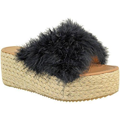Fashion Thirsty Mujer Alpargatas de Meter Sandalias de Cuña Plataforma Plana Piel Sintética Zapatos Número GB Negro Piel Sintética/Marabú