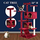 Red Wine Cat Tree Tower Condo Furniture House Scratching Scratch Kitten Bed New Post Kitty Pet House Play