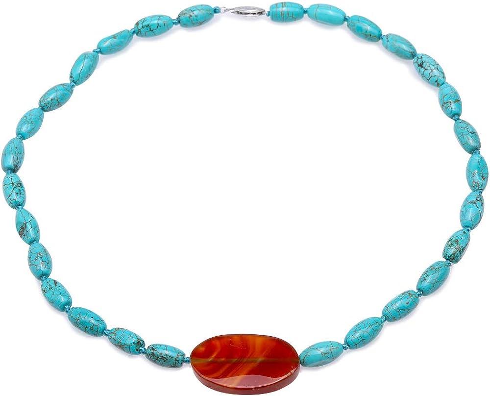 Collar de Turquesa JYX 8 × 12.5 mm Turquesa Irregular Azul salpicado con un Collar de una hebra de ágata de 22 × 35 mm Collar de Perlas de Piedras Preciosas Hechas a Mano AAA