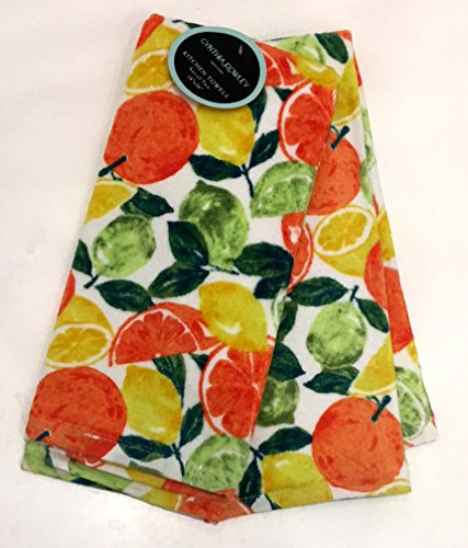 Cynthia Rowley Luscious CITRUS Fruit Kitchen Towel Set | 100% Cotton